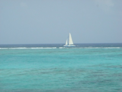 Sailing outside the reef.