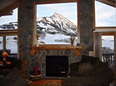 View over fireplace to Mt. Crested Butte
